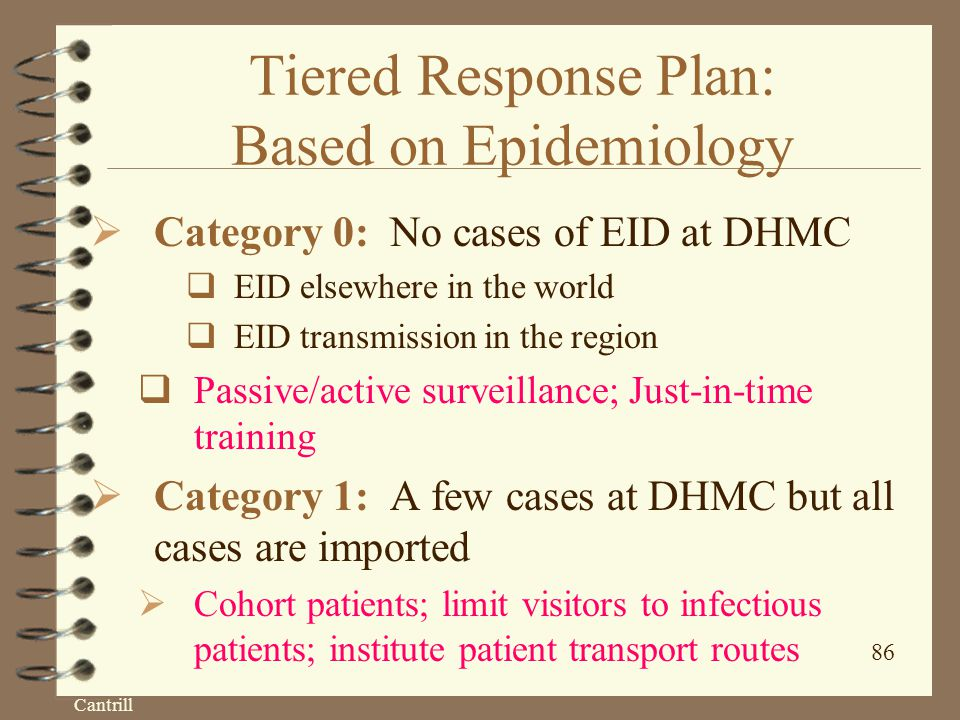 Cantrill 86 Tiered Response Plan: Based on Epidemiology  Category 0: No cases of EID at DHMC  EID elsewhere in the world  EID transmission in the region  Passive/active surveillance; Just-in-time training  Category 1: A few cases at DHMC but all cases are imported  Cohort patients; limit visitors to infectious patients; institute patient transport routes