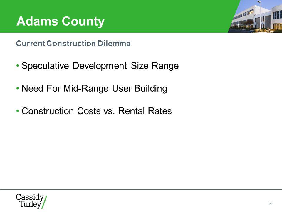 14 Adams County Speculative Development Size Range Need For Mid-Range User Building Construction Costs vs.