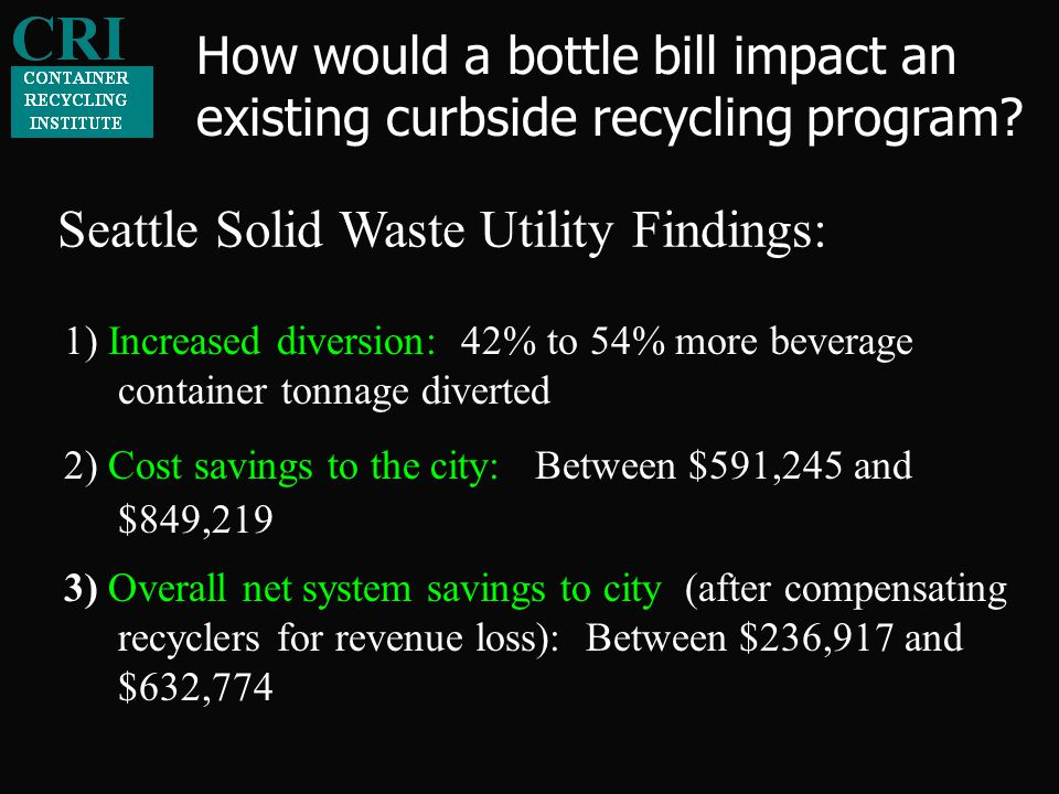 Seattle Solid Waste Utility Findings: 2) Cost savings to the city: Between $591,245 and $849,219 3) Overall net system savings to city (after compensating recyclers for revenue loss): Between $236,917 and $632,774 1) Increased diversion: 42% to 54% more beverage container tonnage diverted How would a bottle bill impact an existing curbside recycling program