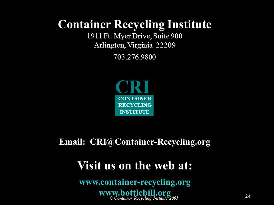 © Container Recycling Institute 2005 24 Container Recycling Institute 1911 Ft.