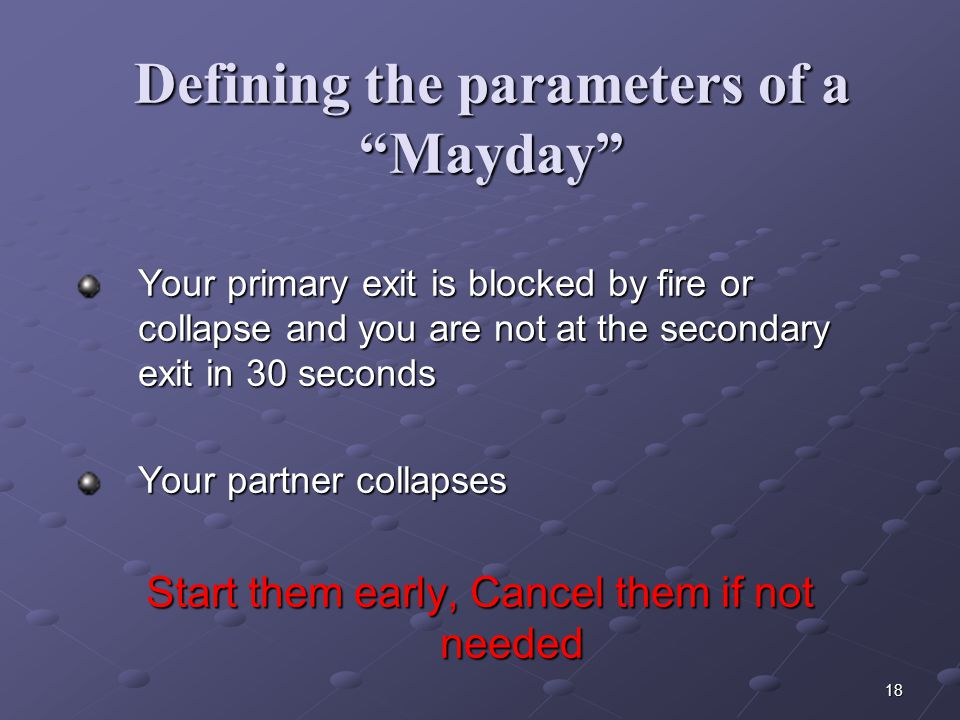 """17 Defining the parameters of a """"Mayday"""" The """"if"""" – """"then"""" approach; call a Mayday if: You fall through the roof You fall through the floor You become"""