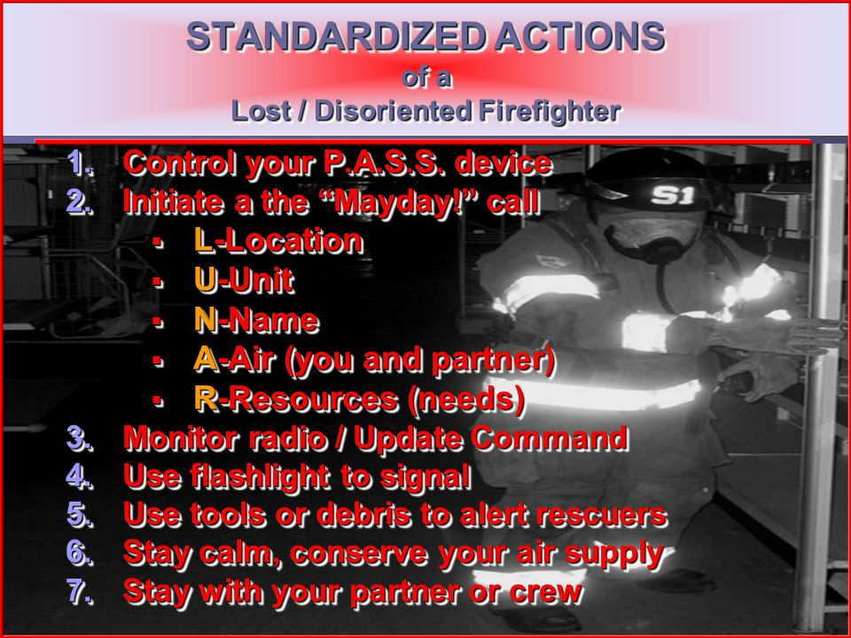 25 Incident Commander Responsibilities Stay calm Immediately obtain situation information L.U.N.A.R. L.U.N.A.R. Identify primary hazards to trapped fi
