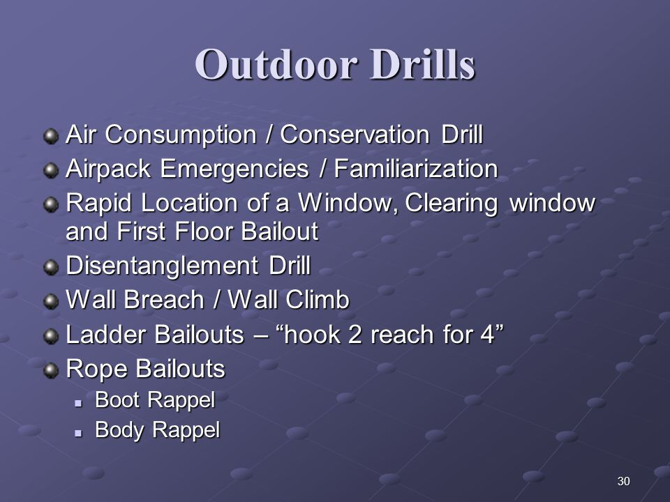 29 Personal Equipment for Rescue Door chocks Medical shears or tin snips Lifeline Rescue sling/webbing Bail Out Rope