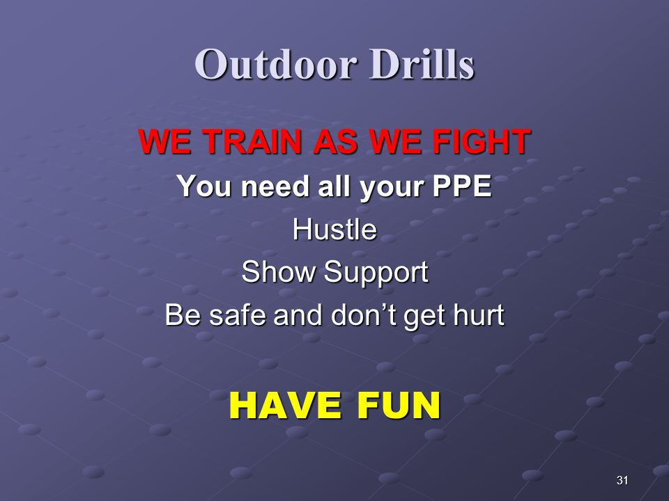 30 Outdoor Drills Air Consumption / Conservation Drill Airpack Emergencies / Familiarization Rapid Location of a Window, Clearing window and First Flo