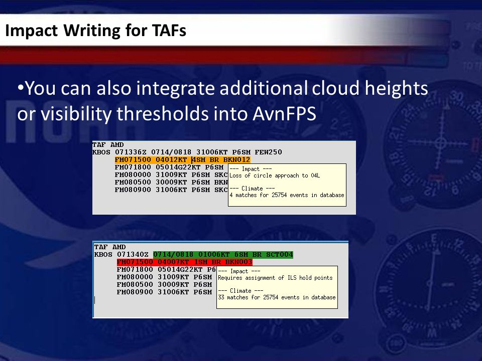 You can also integrate additional cloud heights or visibility thresholds into AvnFPS