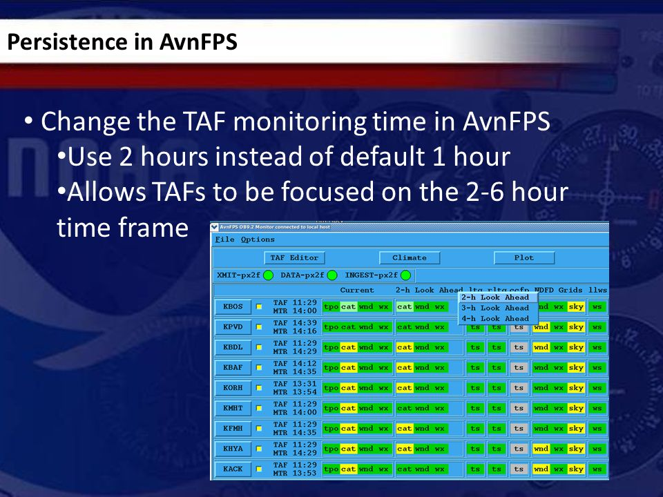 Persistence in AvnFPS Change the TAF monitoring time in AvnFPS Use 2 hours instead of default 1 hour Allows TAFs to be focused on the 2-6 hour time fr