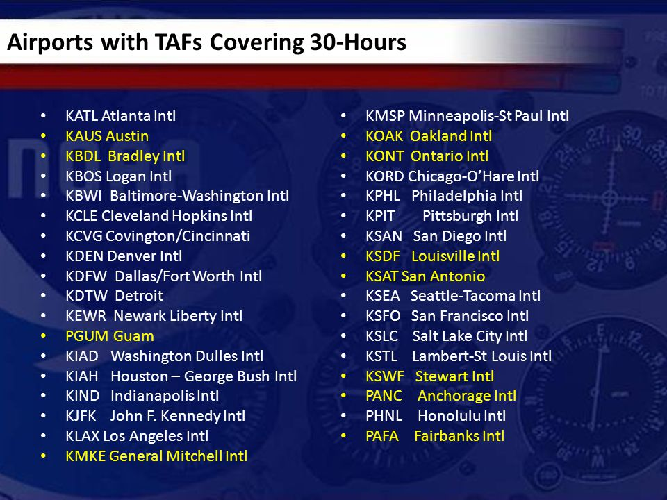 Use of VCTS/CB in TAFs