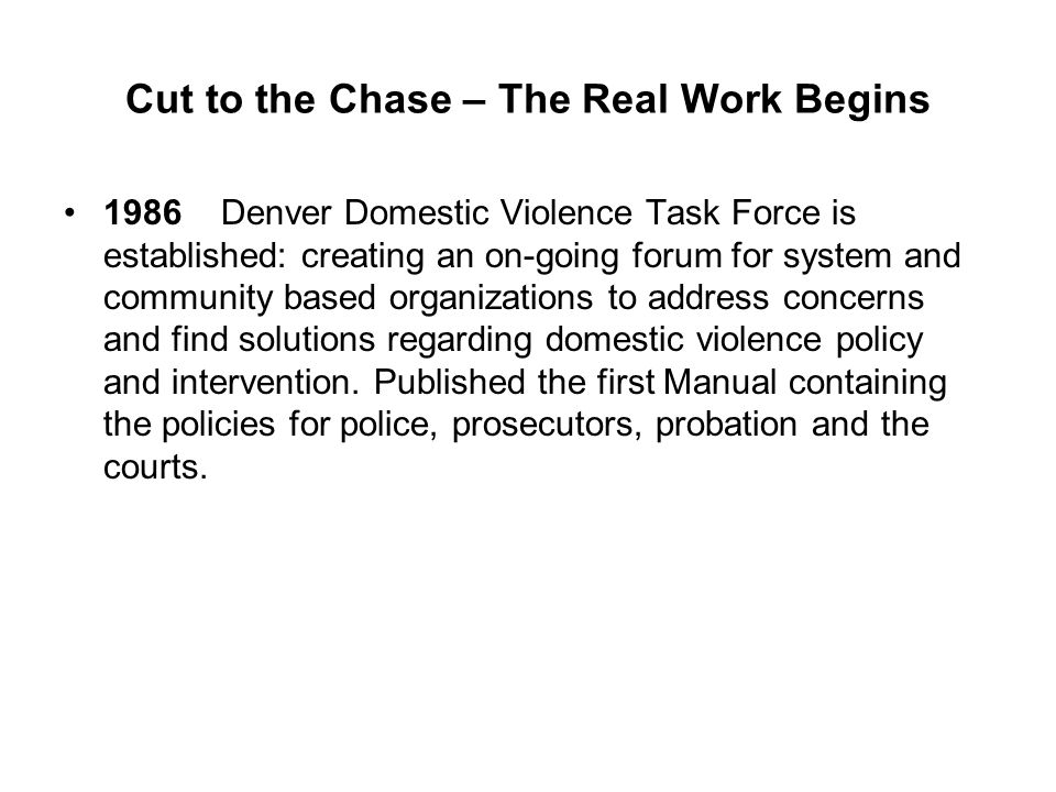 Cut to the Chase – The Real Work Begins 1986 Denver Domestic Violence Task Force is established: creating an on-going forum for system and community b