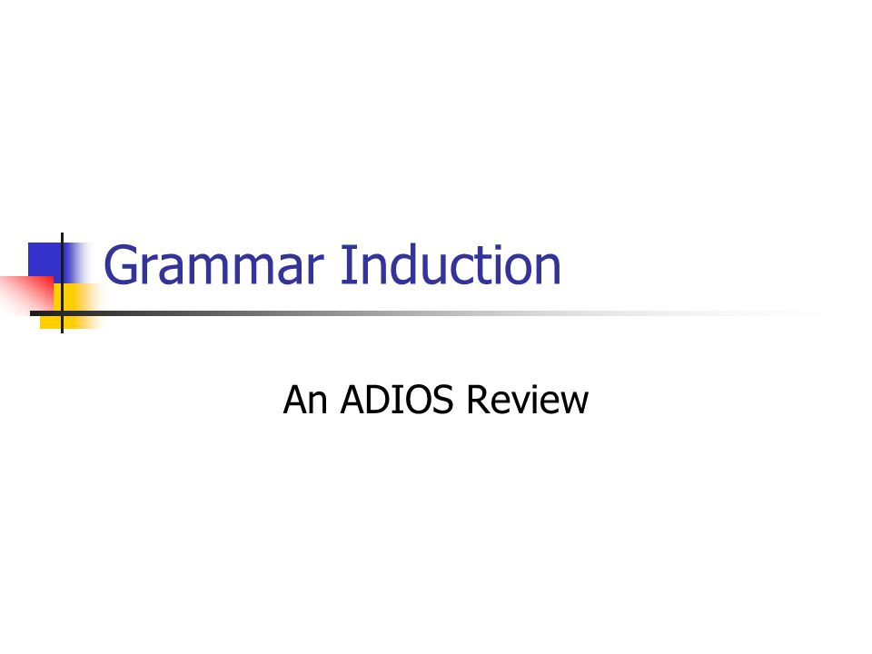 Grammar Induction An ADIOS Review
