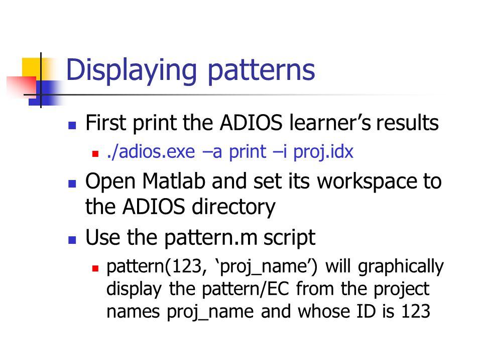 Convert grammar Usage –./convert_grammar.exe –l lex_file –g grammar_file –o proj_name output files – proj_name.idx – index file graph.dat – the graph patterns.dat – the patterns