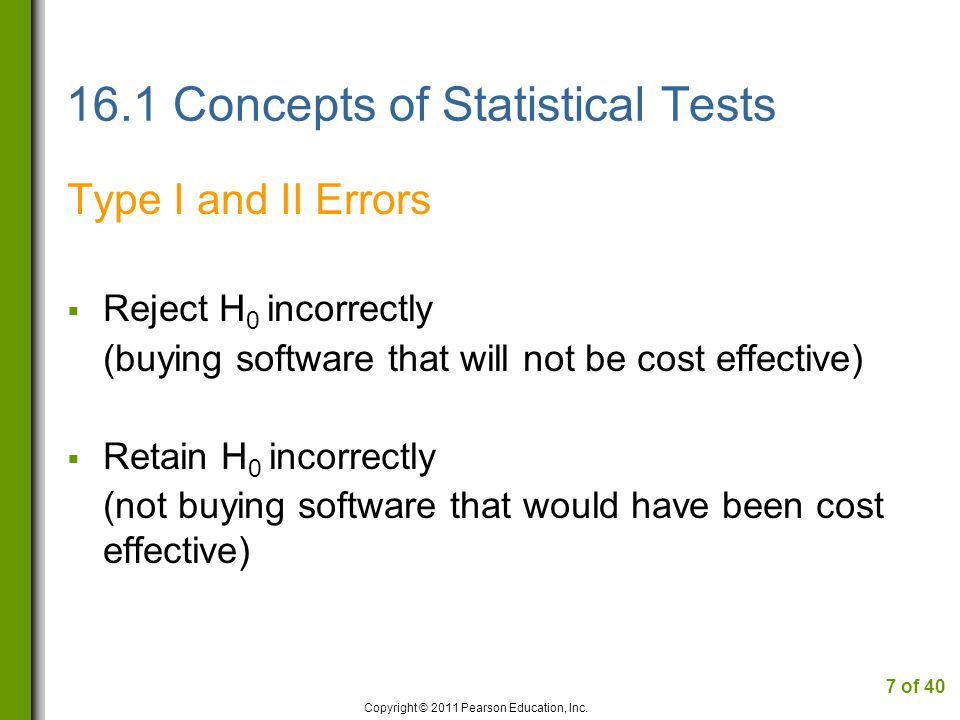 16.1 Concepts of Statistical Tests Type I and II Errors  Reject H 0 incorrectly (buying software that will not be cost effective)  Retain H 0 incorrectly (not buying software that would have been cost effective) Copyright © 2011 Pearson Education, Inc.