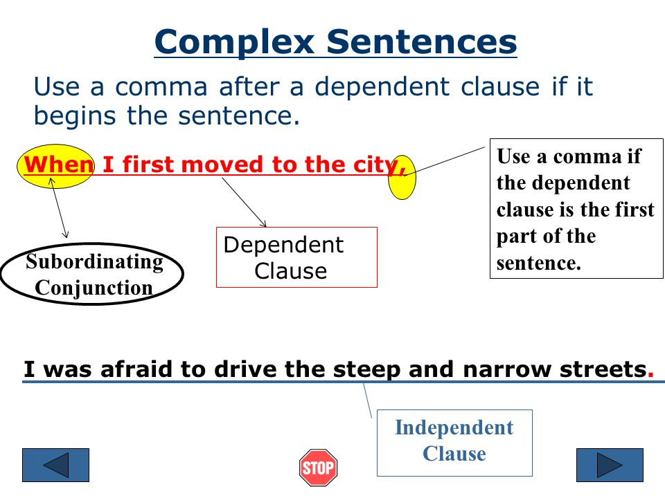Complex Sentence The Dependent Clause in this sentence begins with a Subordinating Conjunction She will go to school in the city until she finds a job.