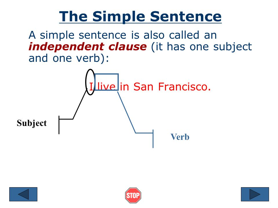 The Simple Sentence A simple sentence is also called an independent clause (it has one subject and one verb): I live in San Francisco.
