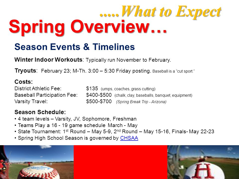 .....What to Expect Spring Overview… Season Events & Timelines Winter Indoor Workouts: Typically run November to February.