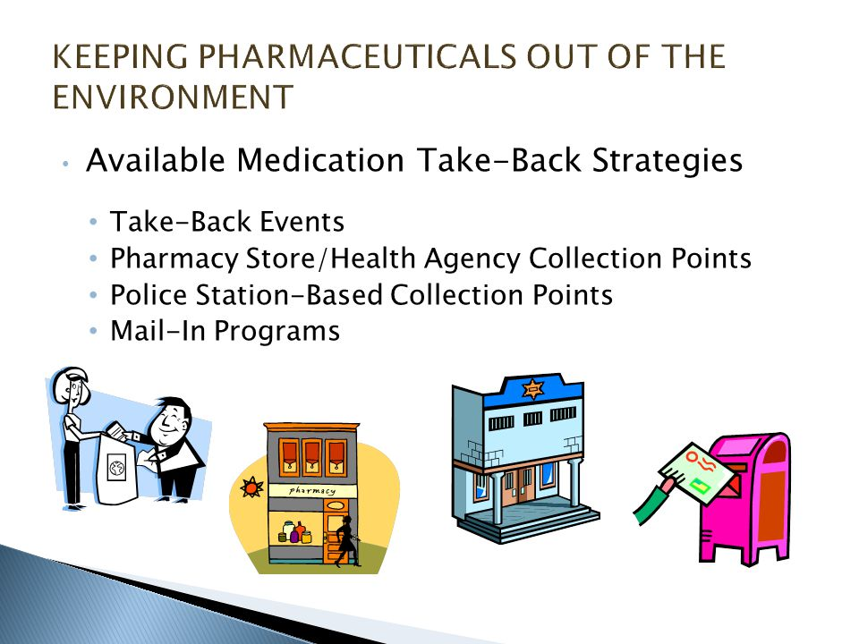 Available Medication Take-Back Strategies Take-Back Events Pharmacy Store/Health Agency Collection Points Police Station-Based Collection Points Mail-In Programs