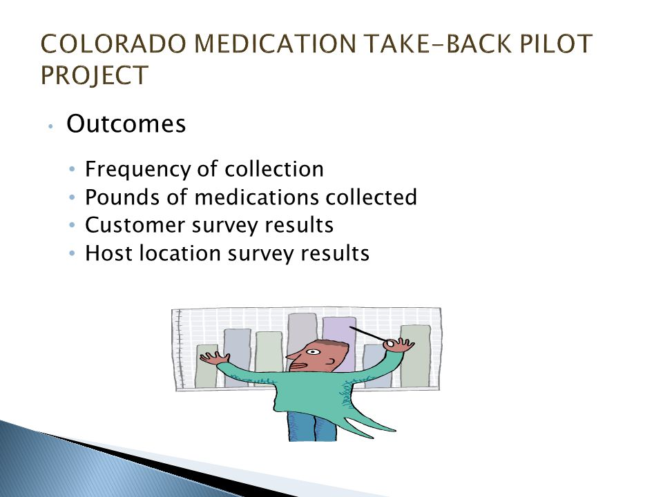 Outcomes Frequency of collection Pounds of medications collected Customer survey results Host location survey results