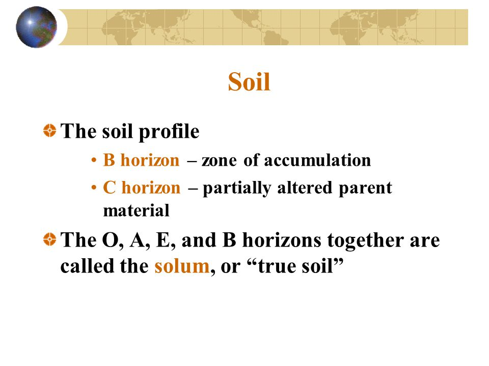 Soil The soil profile B horizon – zone of accumulation C horizon – partially altered parent material The O, A, E, and B horizons together are called t