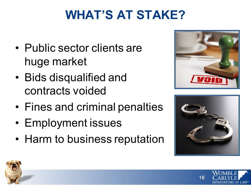 WHAT'S AT STAKE? Public sector clients are huge market Bids disqualified and contracts voided Fines and criminal penalties Employment issues Harm to b