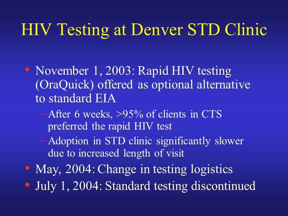 HIV Testing at Denver STD Clinic November 1, 2003: Rapid HIV testing (OraQuick) offered as optional alternative to standard EIA – After 6 weeks, >95% of clients in CTS preferred the rapid HIV test – Adoption in STD clinic significantly slower due to increased length of visit May, 2004: Change in testing logistics July 1, 2004: Standard testing discontinued