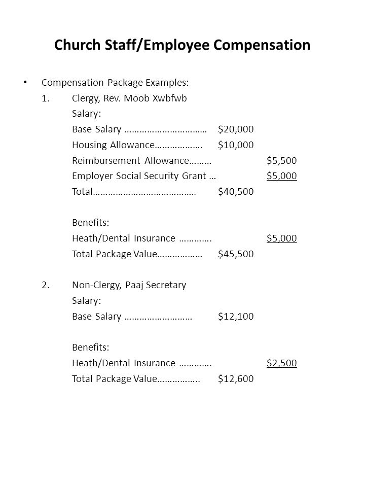 Church Staff/Employee Compensation Compensation Package Examples: 1.Clergy, Rev.