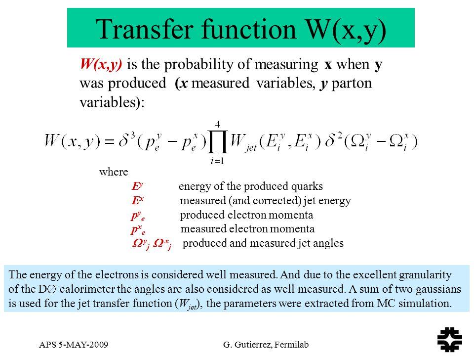APS 5-MAY-2009 G. Gutierrez, Fermilab Transfer function W(x,y) W(x,y) is the probability of measuring x when y was produced (x measured variables, y p