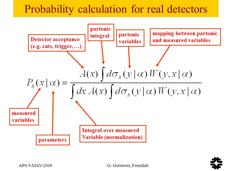 APS 5-MAY-2009 G. Gutierrez, Fermilab Probability calculation for real detectors Detector acceptance (e.g. cuts, trigger, …) partonic integral partoni