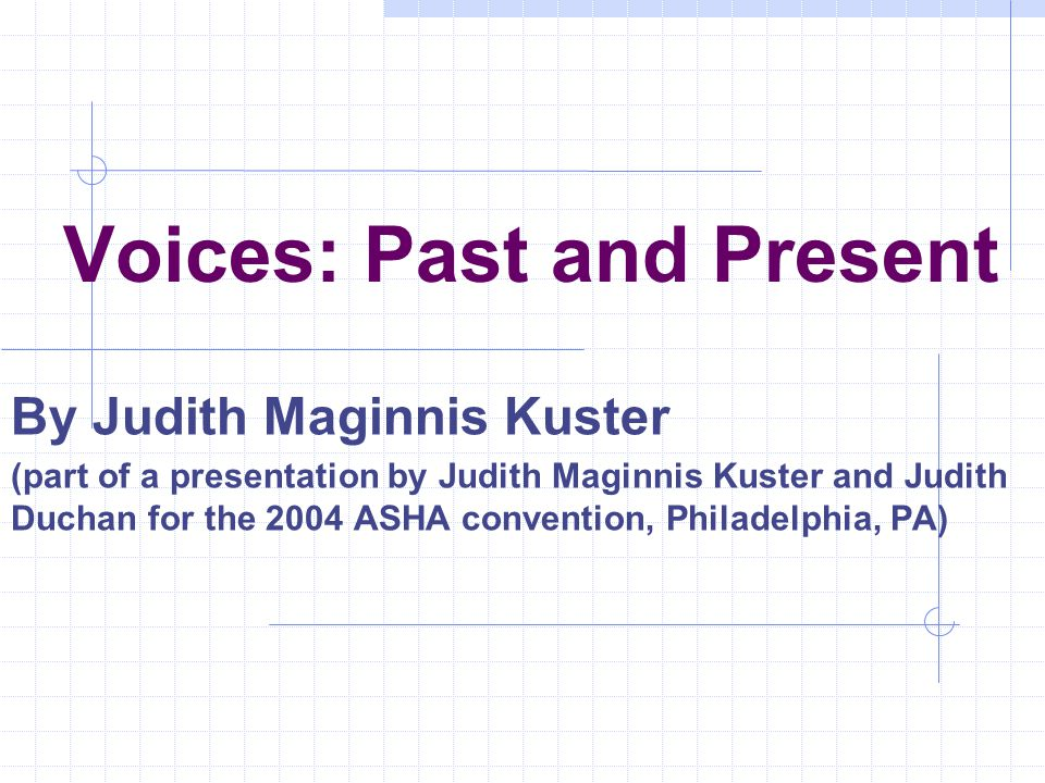 Voices: Past and Present By Judith Maginnis Kuster (part of a presentation by Judith Maginnis Kuster and Judith Duchan for the 2004 ASHA convention, P