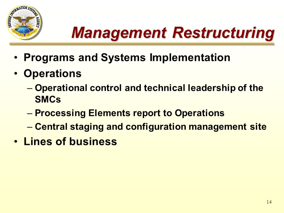 14 Programs and Systems Implementation Operations –Operational control and technical leadership of the SMCs –Processing Elements report to Operations –Central staging and configuration management site Lines of business Management Restructuring
