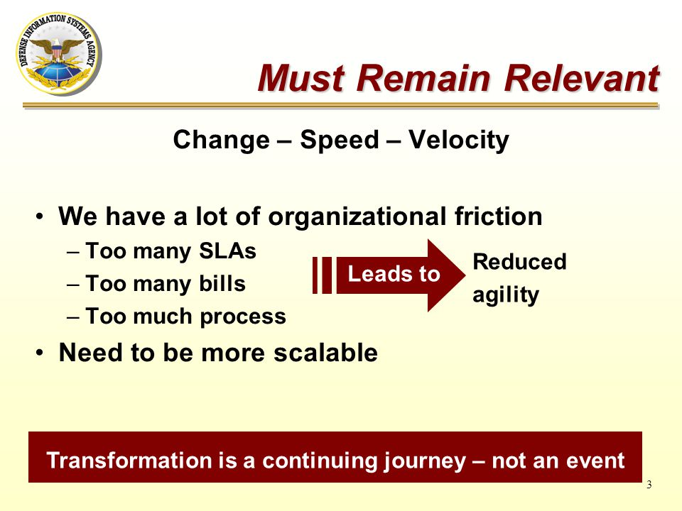 3 Must Remain Relevant Change – Speed – Velocity We have a lot of organizational friction –Too many SLAs –Too many bills –Too much process Need to be more scalable Transformation is a continuing journey – not an event Leads to Reduced agility