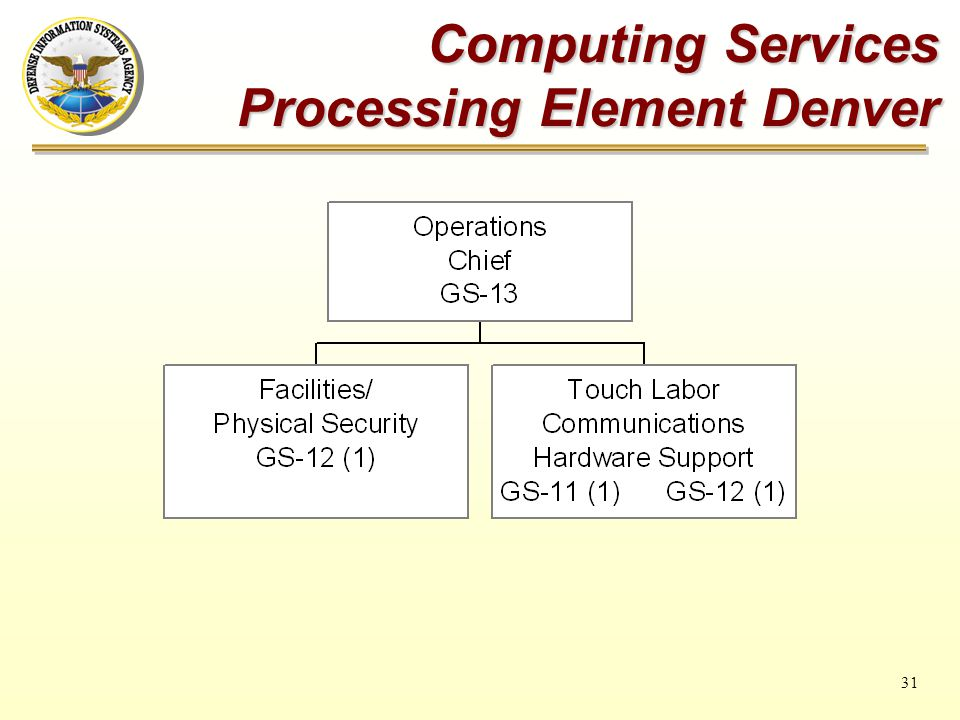 31 Computing Services Processing Element Denver