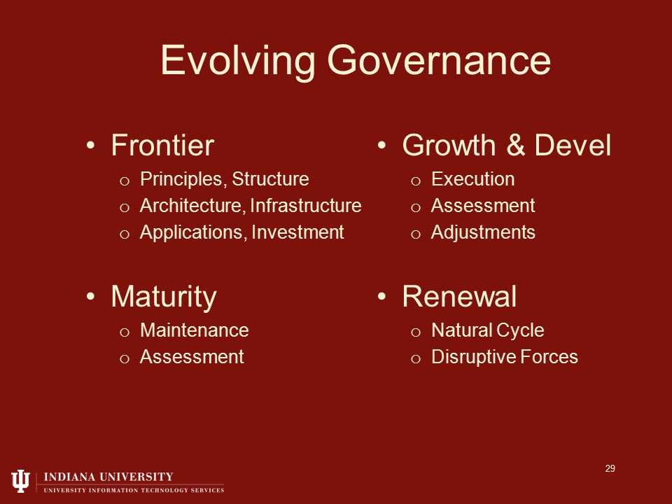 Evolving Governance Frontier o Principles, Structure o Architecture, Infrastructure o Applications, Investment Growth & Devel o Execution o Assessment o Adjustments Maturity o Maintenance o Assessment Renewal o Natural Cycle o Disruptive Forces 29