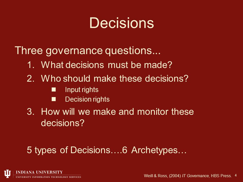Presentation Outline 45 Governance Models Governance in the Academe IU Experience Realities Conclusions