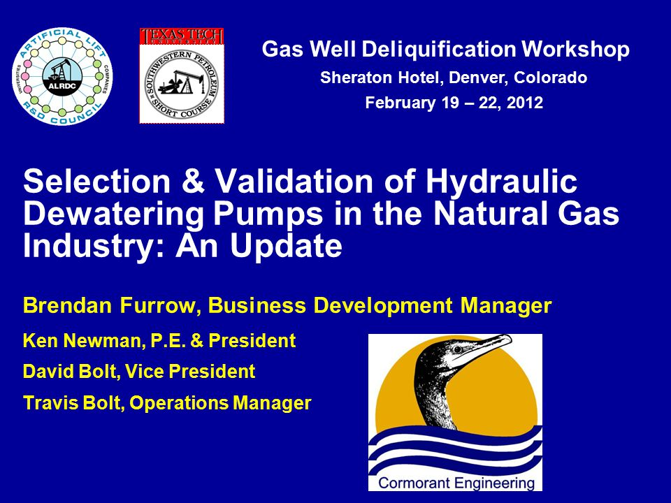 Gas Well Deliquification Workshop Sheraton Hotel, Denver, Colorado February 19 – 22, 2012 Selection & Validation of Hydraulic Dewatering Pumps in the