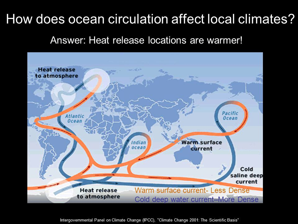 How does ocean circulation affect local climates.