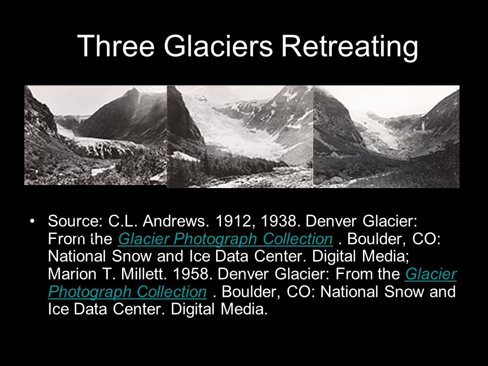 Three Glaciers Retreating Source: C.L. Andrews. 1912, 1938.
