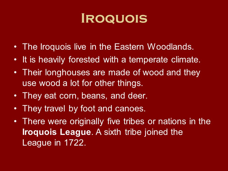 Iroquois The Iroquois live in the Eastern Woodlands.