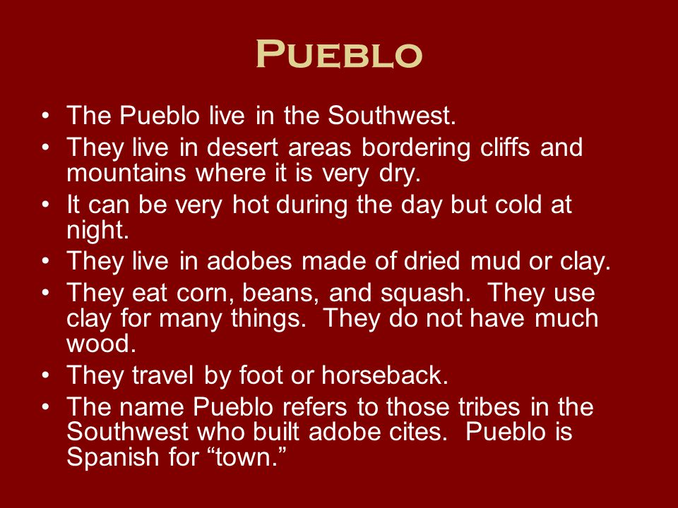 Pueblo The Pueblo live in the Southwest.
