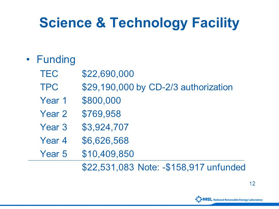 12 Science & Technology Facility Funding TEC$22,690,000 TPC$29,190,000 by CD-2/3 authorization Year 1$800,000 Year 2$769,958 Year 3$3,924,707 Year 4$6,626,568 Year 5$10,409,850 $22,531,083 Note: -$158,917 unfunded