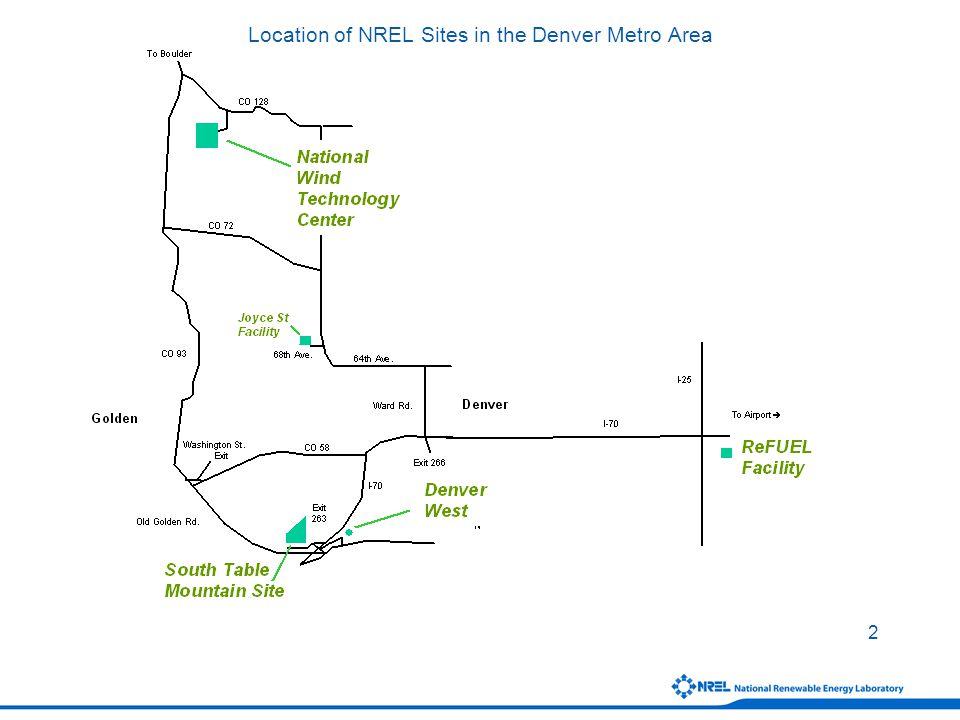 2 Location of NREL Sites in the Denver Metro Area