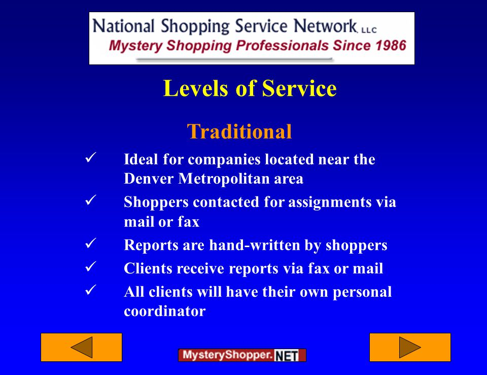 Levels of Service Traditional Ideal for companies located near the Denver Metropolitan area Shoppers contacted for assignments via mail or fax Reports are hand-written by shoppers Clients receive reports via fax or mail All clients will have their own personal coordinator