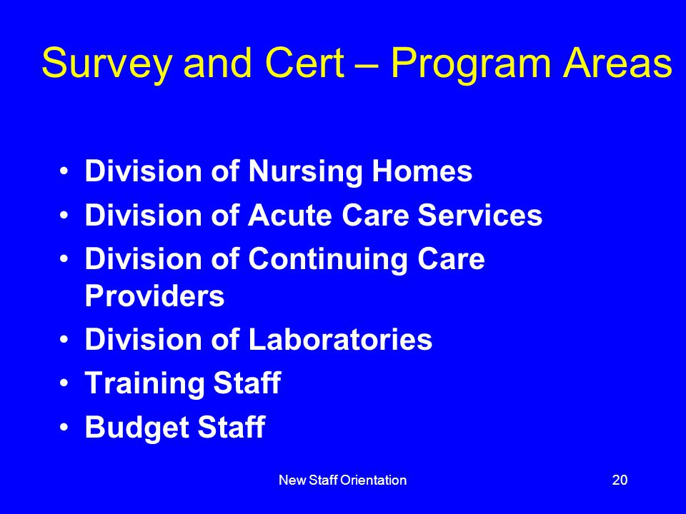 New Staff Orientation20 Survey and Cert – Program Areas Division of Nursing Homes Division of Acute Care Services Division of Continuing Care Providers Division of Laboratories Training Staff Budget Staff