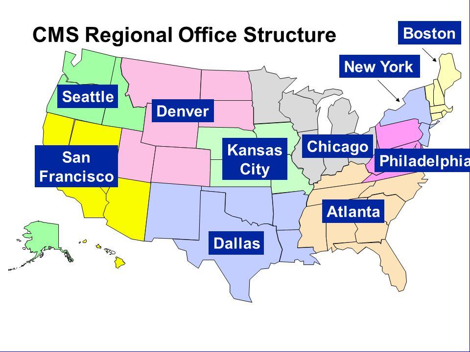 New Staff Orientation8 Dallas San Francisco Seattle Denver Kansas City Chicago Atlanta Boston New York Philadelphia CMS Regional Office Structure