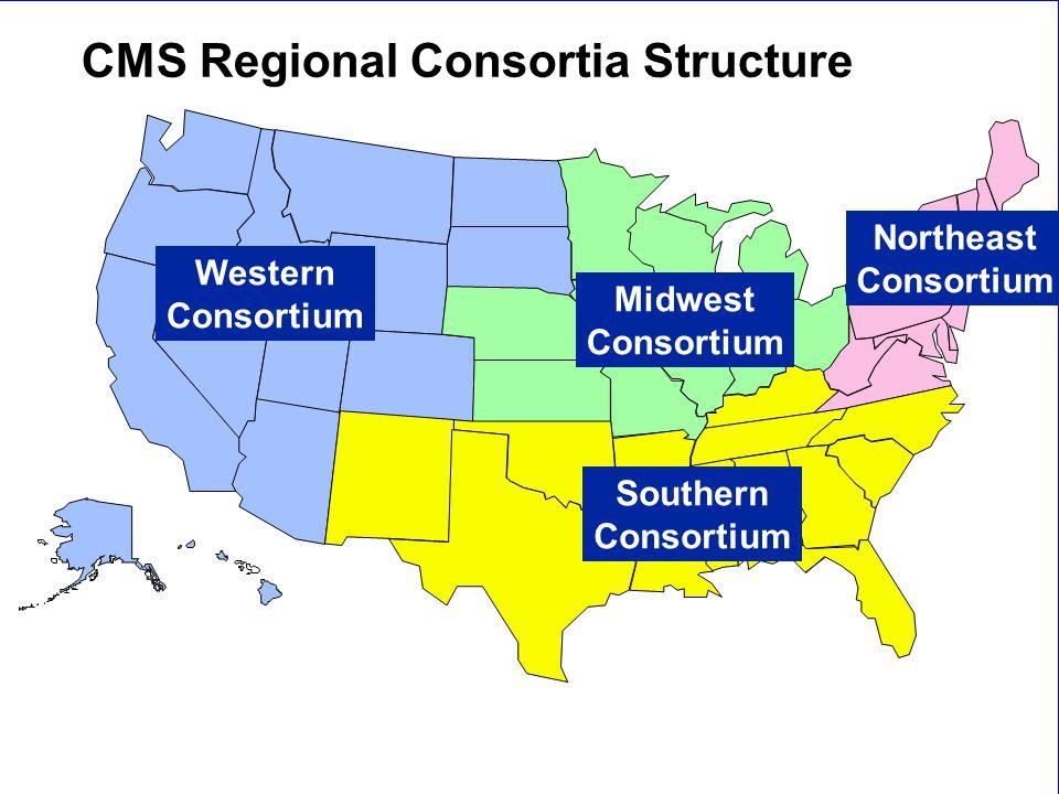 New Staff Orientation9 Western Consortium Southern Consortium Midwest Consortium Northeast Consortium CMS Regional Consortia Structure