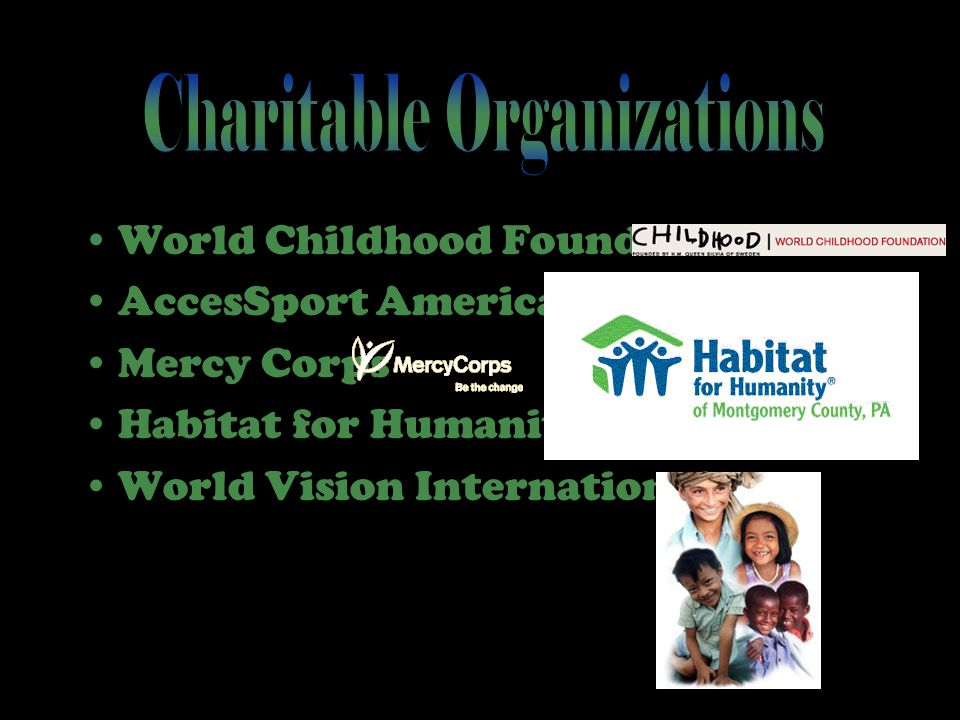 World Childhood Foundation AccesSport America Mercy Corps Habitat for Humanity World Vision International