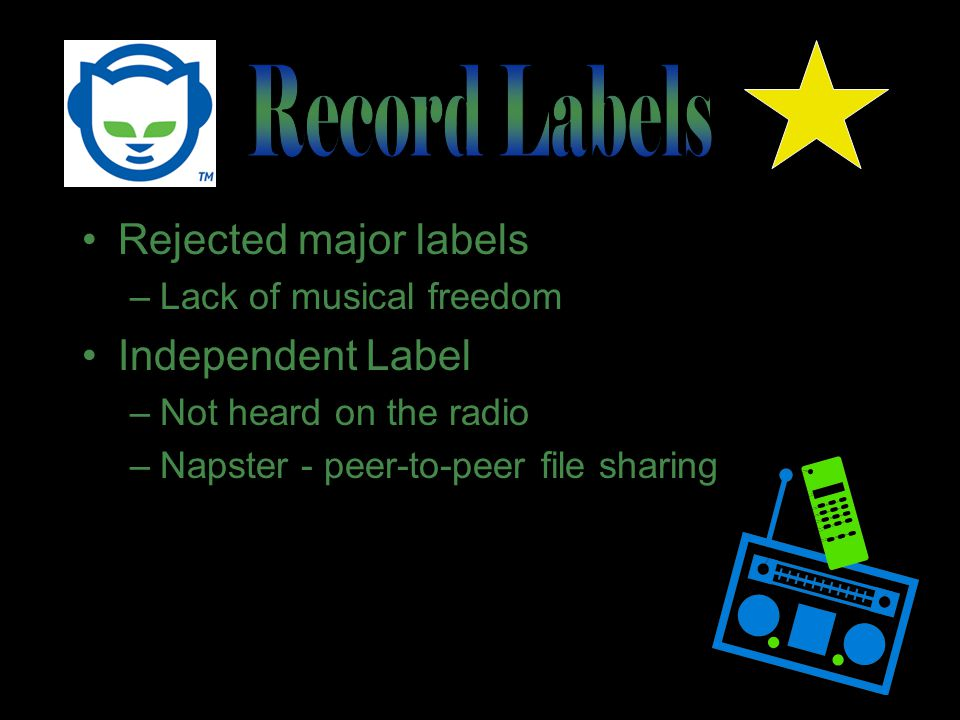Rejected major labels –Lack of musical freedom Independent Label –Not heard on the radio –Napster - peer-to-peer file sharing