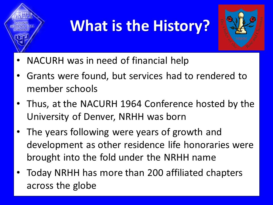 What is the History? NACURH was in need of financial help Grants were found, but services had to rendered to member schools Thus, at the NACURH 1964 C