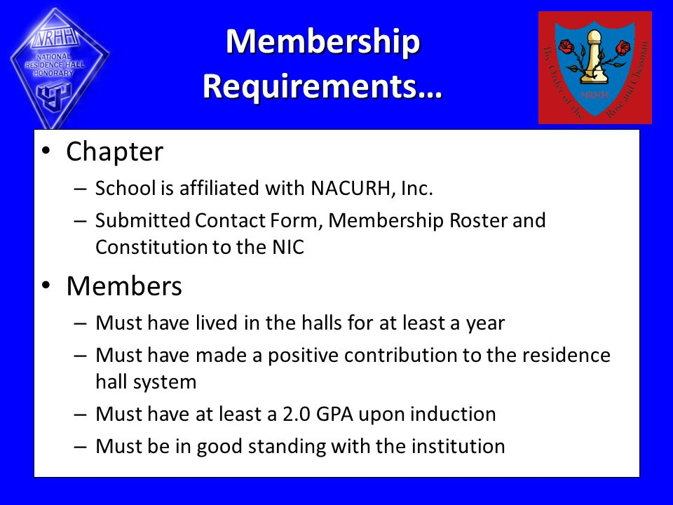 Membership Requirements… Chapter – School is affiliated with NACURH, Inc.