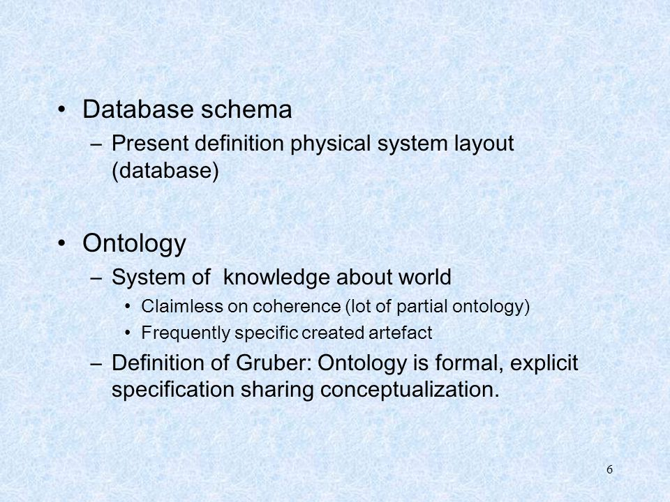6 Database schema –Present definition physical system layout (database) Ontology –System of knowledge about world Claimless on coherence (lot of parti