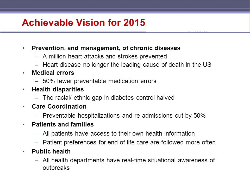 Achievable Vision for 2015 Prevention, and management, of chronic diseases –A million heart attacks and strokes prevented –Heart disease no longer the leading cause of death in the US Medical errors –50% fewer preventable medication errors Health disparities –The racial/ ethnic gap in diabetes control halved Care Coordination –Preventable hospitalizations and re-admissions cut by 50% Patients and families –All patients have access to their own health information –Patient preferences for end of life care are followed more often Public health –All health departments have real-time situational awareness of outbreaks