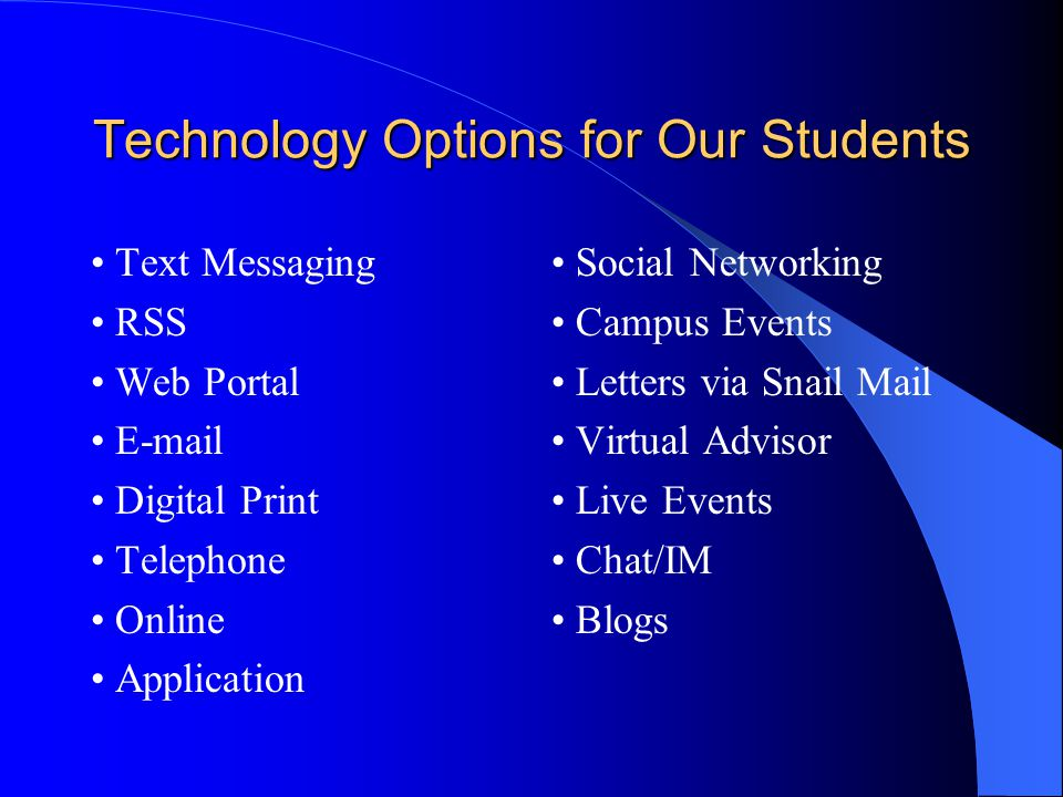 Technology Options for Our Students Text Messaging RSS Web Portal E-mail Digital Print Telephone Online Application Social Networking Campus Events Letters via Snail Mail Virtual Advisor Live Events Chat/IM Blogs